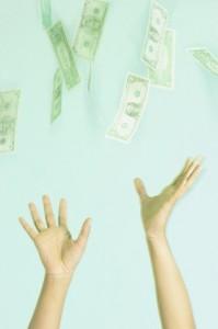 hands chasing money